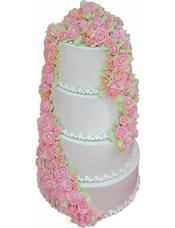 四层鲜奶蛋糕,鲜奶玫瑰花装饰