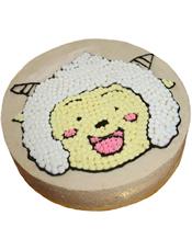 圆形奶油蛋糕,上面有懒洋洋图案。