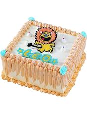 Leo狮子座专属,方形鲜奶蛋糕,四周奶油流苏装饰
