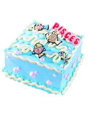 Pisces双鱼座专属,方形鲜奶蛋糕,四周奶油花装饰