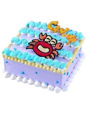 cancer巨蟹座专属,方形鲜奶蛋糕,四周奶油花装饰