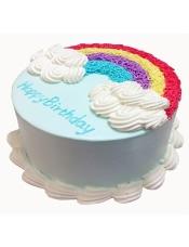 彩色蛋糕胚,奶油圆形蛋糕彩虹形状奶油装饰(需提前1—2天预订)