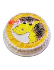 圆形奶油蛋糕,新鲜时令点缀,一只可爱小马