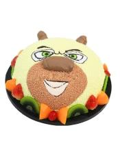 圆形水果艺术蛋糕,《熊出没》中熊二造型,新鲜水果围边。