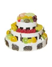 三层圆形鲜奶水果蛋糕,各色时令水果艺术装饰,巧克力片围边