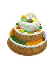 三层圆形鲜奶水果蛋糕,新鲜水果艺术装饰,果仁碎屑围边。