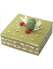 方形抹茶蛋糕,红豆夹层。