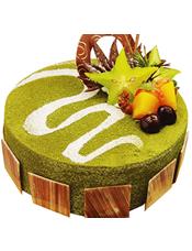 抹茶蛋糕,时令水果装饰,巧克力片围边