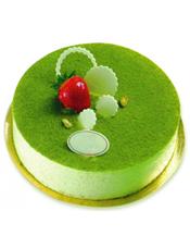 圆形抹茶蛋糕,时令水果装饰