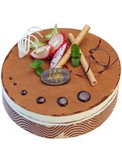 咖啡味提拉米苏蛋糕,新鲜时令水果 (请提前2-3天以上预定,并咨询客服人员所送地区能否制作)