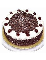 圆形黑森林蛋糕,巧克力屑铺面,白色奶油围边