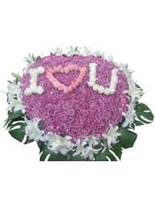 紫色、白色、粉色玫瑰共999枝,40朵白百合,绿叶。